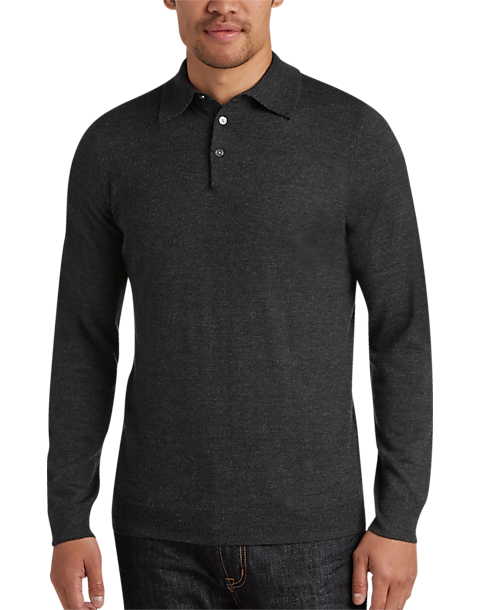 c1c142a20ee772 Joseph Abboud Charcoal Polo Collar Merino Wool Sweater - Men's Sale | Men's  Wearhouse
