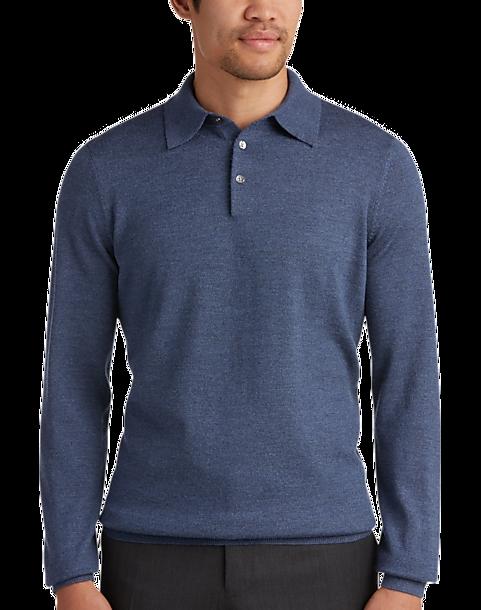 Joseph Abboud Slate Polo Collar Merino Wool Sweater
