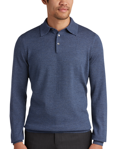 53e594e3fe1b Joseph Abboud Slate Polo Collar Merino Wool Sweater - Men s Sale ...