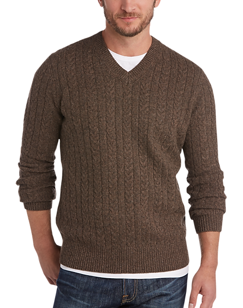 Joseph Abboud Brown V-Neck Sweater - Men's | Men's Wearhouse