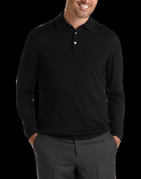 8ef6d31c07 Pronto Uomo Black Merino Polo Sweater - Men s Big   Tall