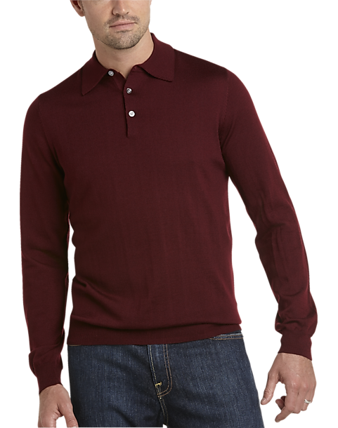 34fad55dd8da Pronto Uomo Burgundy Merino Sweater - Men's | Men's Wearhouse