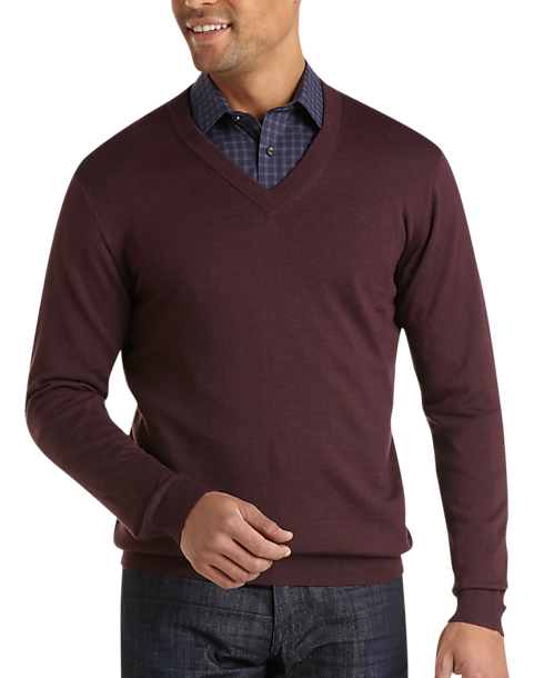 Pronto Uomo Maroon V-Neck Merino Sweater - Men's | Men's Wearhouse