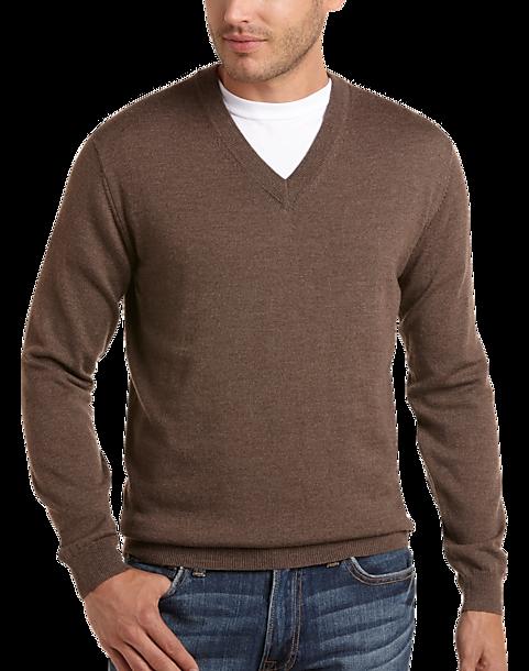 Pronto Uomo Natural Heather V-Neck Merino Sweater - Men s Modern ... 50c9a9f4e