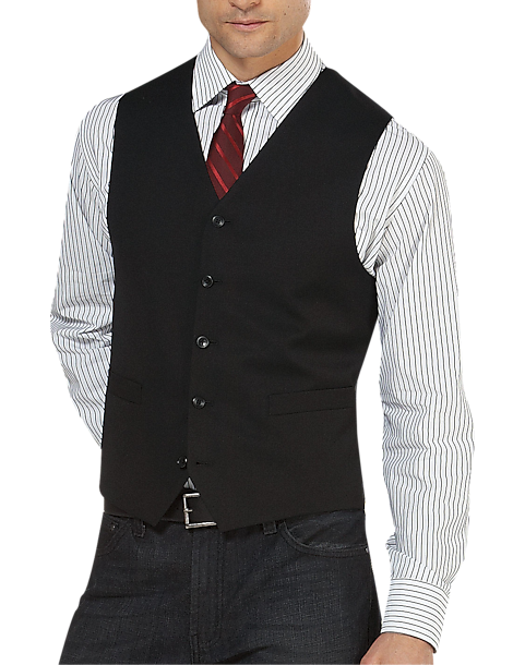 Mens Black Suit Vest OIeO