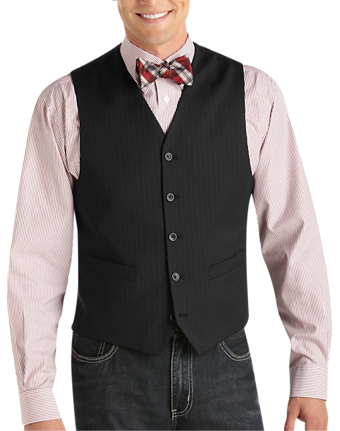 Pronto Uomo Platinum Suit Separates Vest, Black Pinstripe - Men's ...