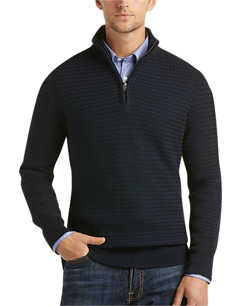 d7e1795d4d5 Joseph Abboud Navy Quarter-Zip Sweater - Men's | Men's Wearhouse