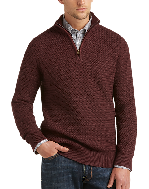 Joseph Abboud Rosewood Quarter-Zip Sweater - Men's Modern Fit ...