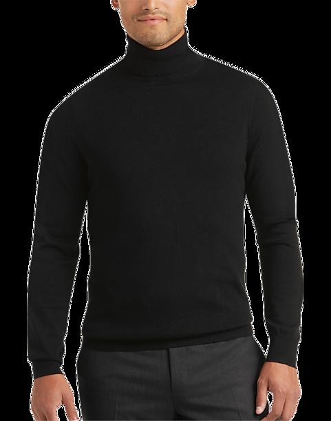 603c3a18c59 Joseph Abboud Black Turtleneck Merino Wool Sweater - Men's Sweaters ...