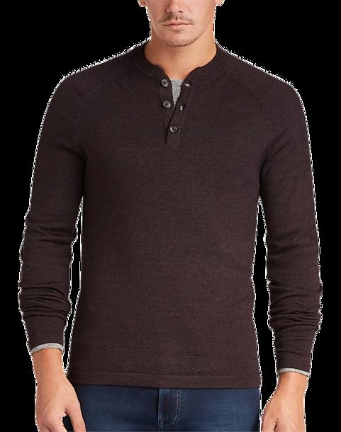 Joseph Abboud Cabernet Henley Sweater Mens Sweaters Mens Wearhouse