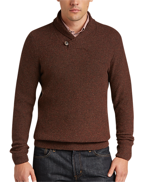 Joseph Abboud Rust Modern Fit Button Shawl Sweater