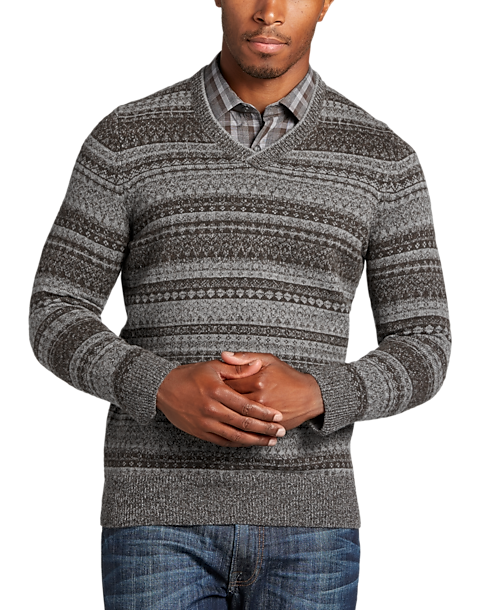 Joseph Abboud Dark Oak Fair Isle Sweater - Men's Cardigans | Men's ...