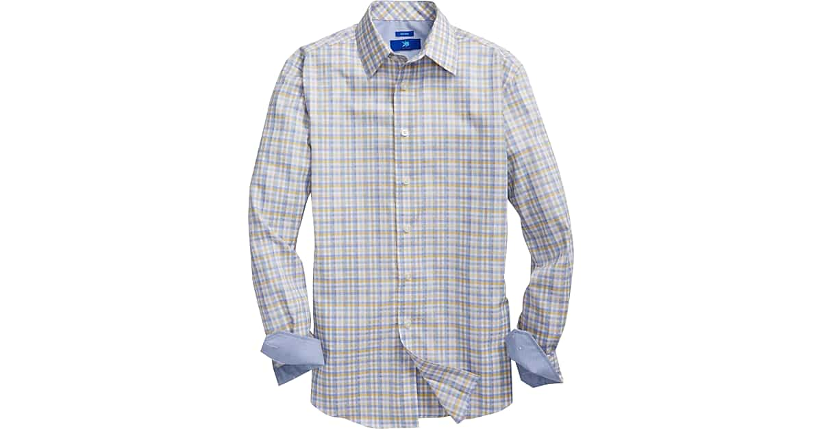 Egara yellow blue gingham check sport shirt men 39 s for Mens yellow gingham shirt