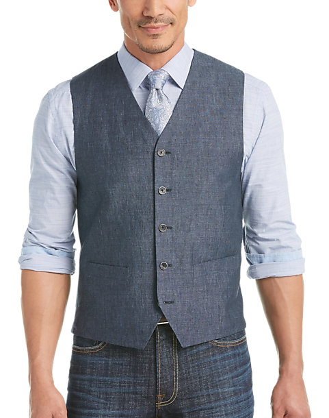 Joseph Abboud Indigo Blue Modern Fit Linen Vest - Mens Tailored Vests, Vests  - Men's
