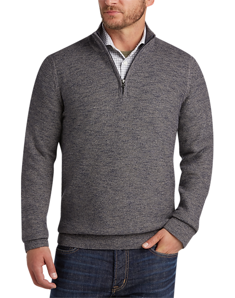 7579699a28d Joseph Abboud Navy & Tan Half-Zip Sweater - Men's All Big & Tall | Men's  Wearhouse
