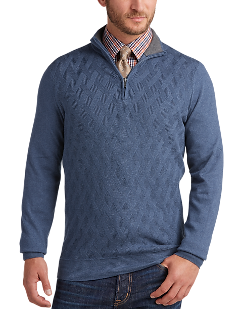 Joseph Abboud Denim Blue Half Zip Sweater - Men's Sweaters | Men's ...