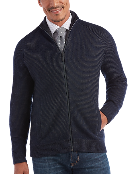 Joseph Abboud Navy Full-Zip Sweater - Men's Modern Fit | Men's ...