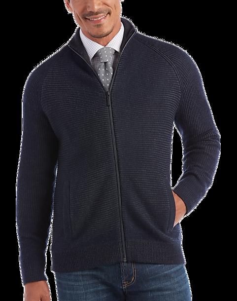94fd2f9488d Joseph Abboud Navy Full-Zip Sweater - Men's Joseph Abboud | Men's Wearhouse