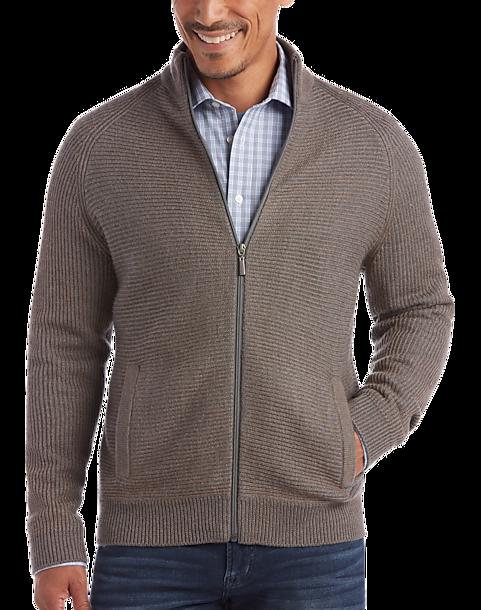 be691d71961 Joseph Abboud Taupe Full-Zip Sweater - Men's Sale | Men's Wearhouse