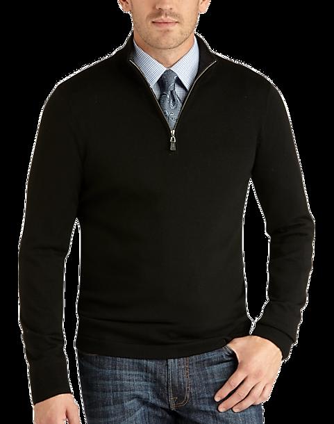 Joseph Abboud Black Half-Zip Merino Sweater - Men's | Men's Wearhouse