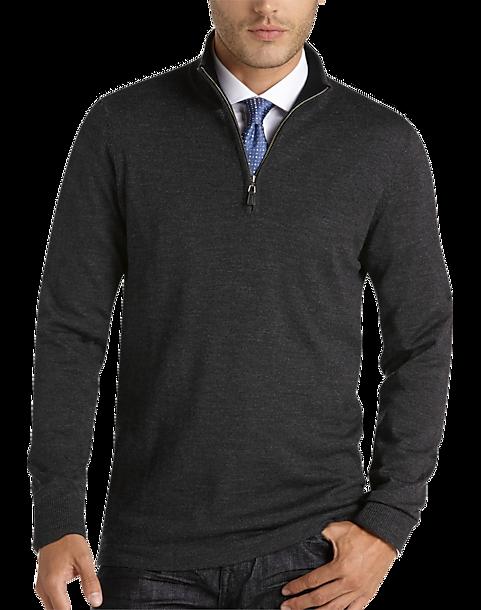 6bf60a8da1 Joseph Abboud Charcoal Half-Zip Modern Fit Merino Sweater - Mens Home -  Men s Wearhouse