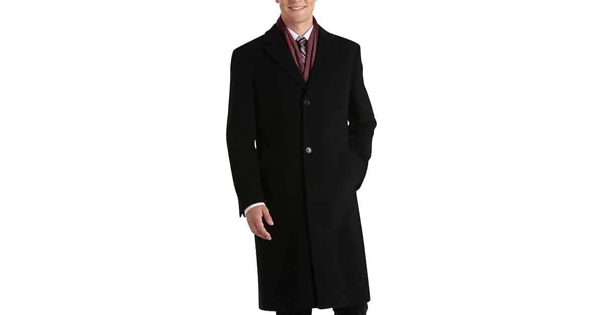 Calvin Klein Black Classic Fit Topcoat - Men's Topcoats | Men's ...