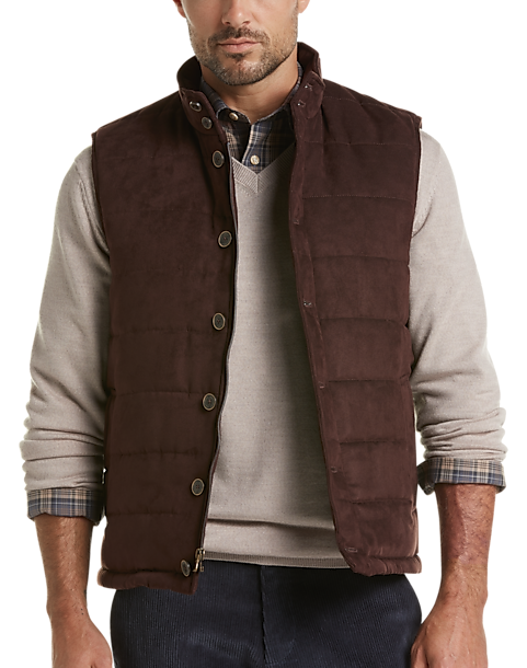 Joseph Abboud Brown Microsuede Modern Fit Puffer Vest (Brown Solid)