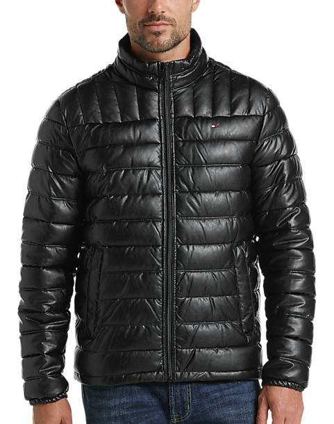 Tommy Hilfiger Black Faux Leather Quilted Jacket