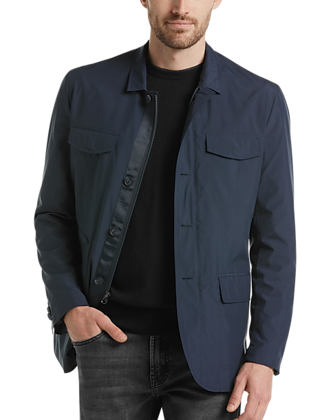Awearness Kenneth Cole Navy Modern Fit Casual Coat (Navy Solid)