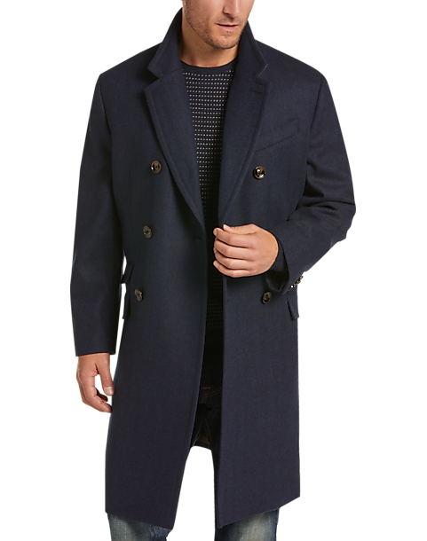 Joseph Abboud Navy Herringbone Modern Fit Topcoat (Navy Solid)