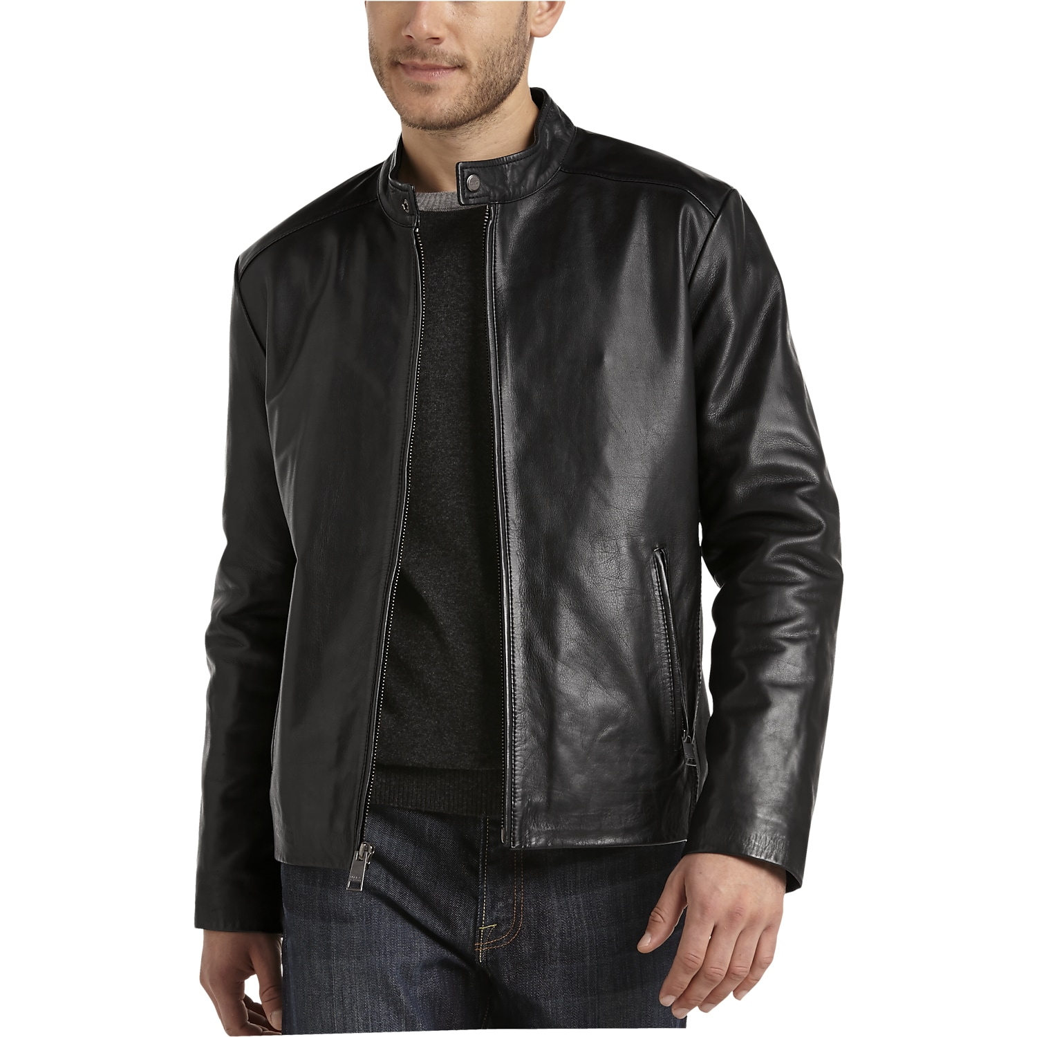 Marc New York Black Modern Fit Lambskin Leather Motorcycle Jacket ...
