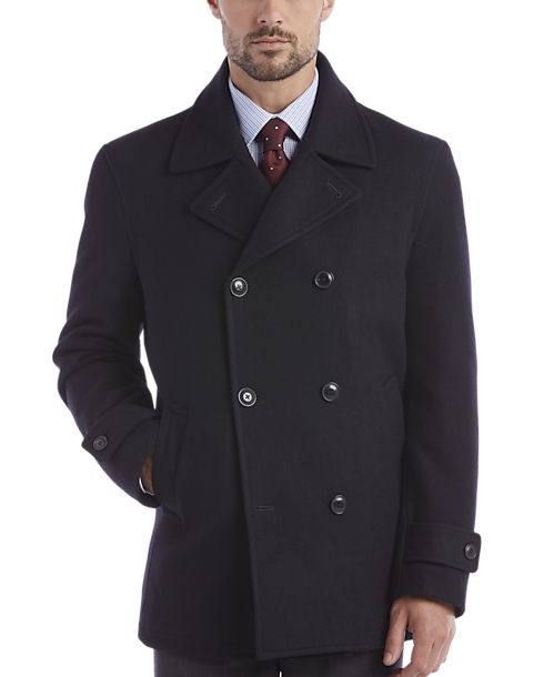 pick up lovely design official price Egara Dark Navy Double-Breasted Modern Fit Peacoat