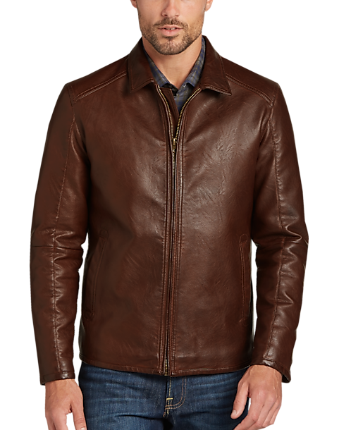 Pronto Uomo Brown Modern Fit Faux Leather Jacket - Men's Casual ...