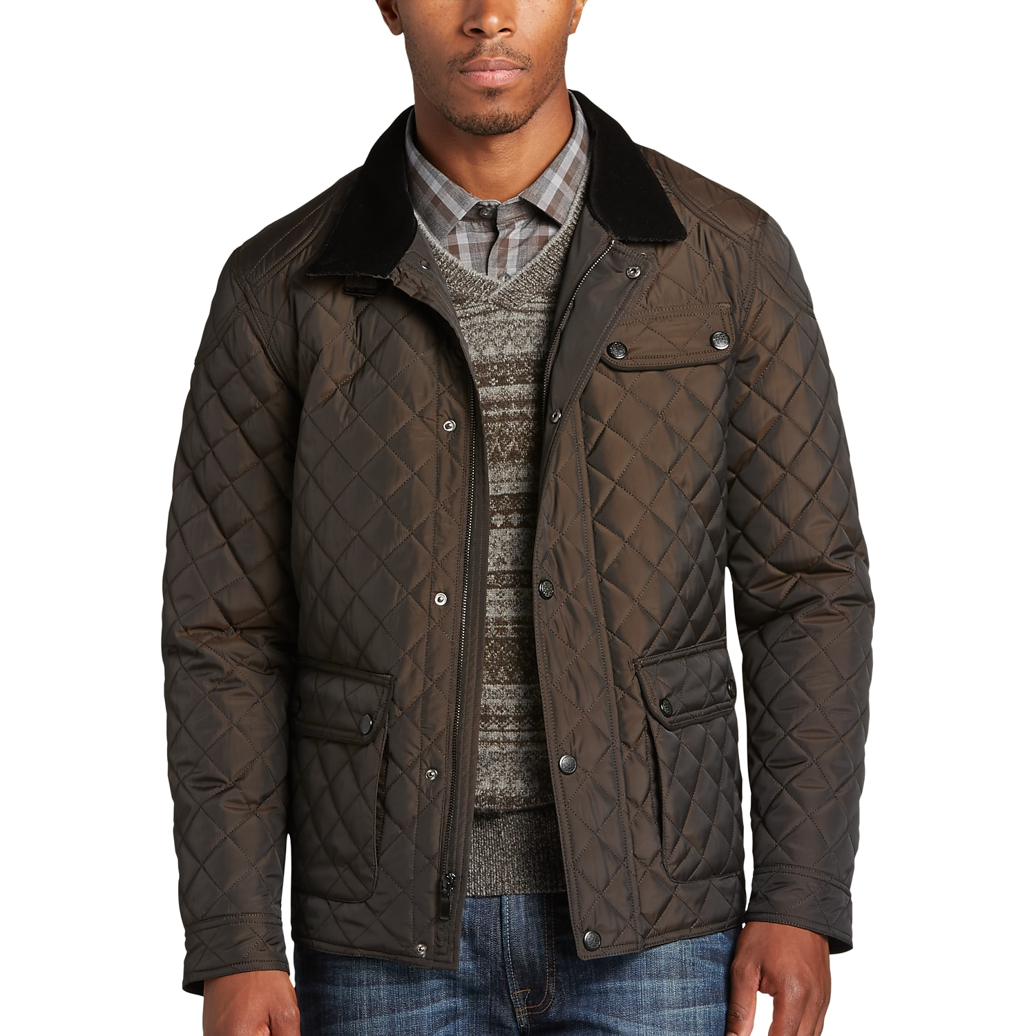Pronto Uomo Brown Modern Fit Quilted Jacket - Men's Casual Jackets ...