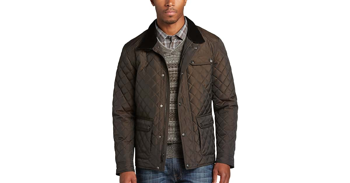 Pronto Uomo Brown Modern Fit Quilted Jacket - Men's Casual Jackets ... : brown quilted coat - Adamdwight.com