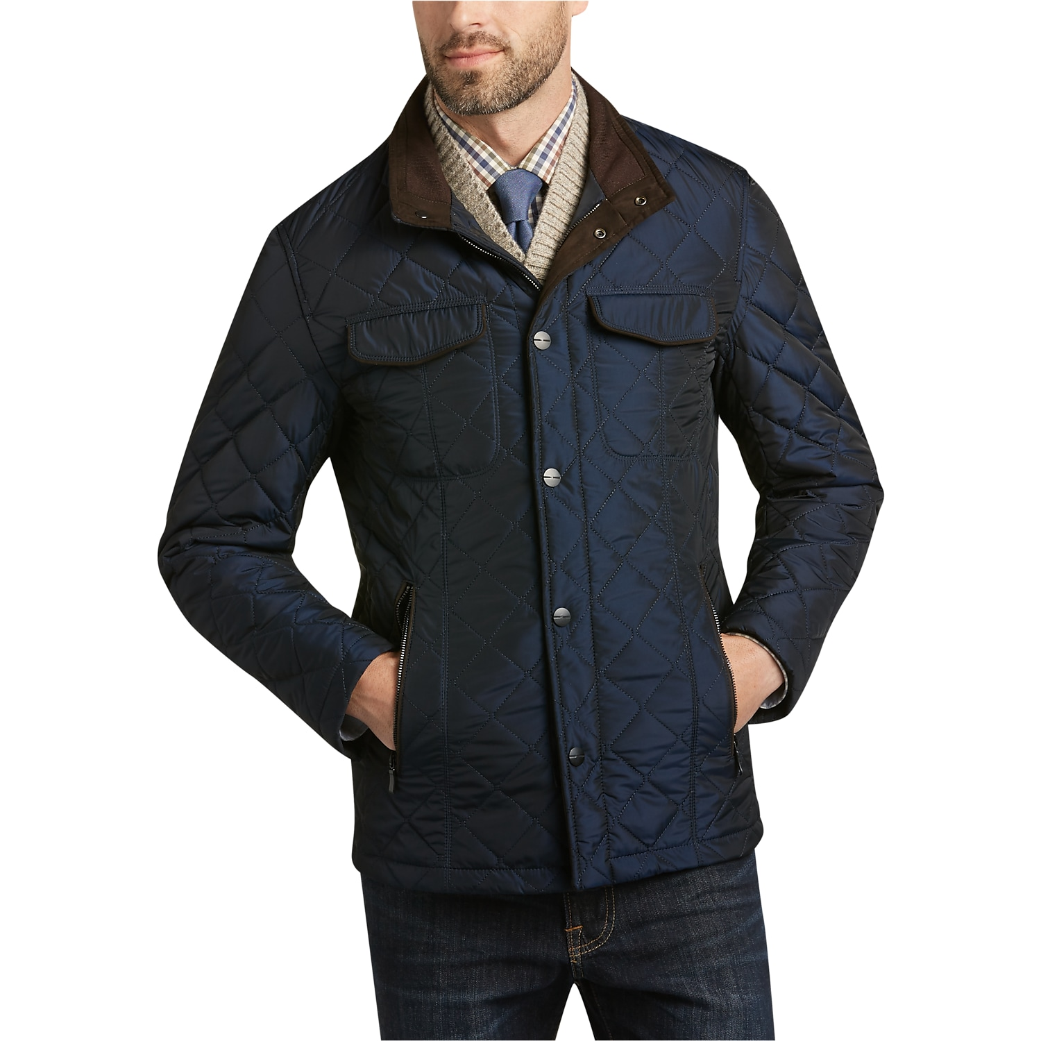 Mens Quilted Jacket | Mens Wearhouse : mens navy quilted coat - Adamdwight.com
