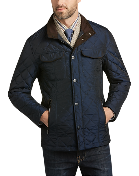 Pronto Uomo Navy Quilted Modern Fit Jacket - Men's Casual Jackets ... : mens navy quilted coat - Adamdwight.com