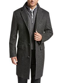 Joseph Abboud Charcoal Gray Twill Modern Fit Topcoat