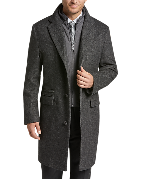 Joseph Abboud Charcoal Gray Twill Modern Fit Topcoat (Charcoal Gray)