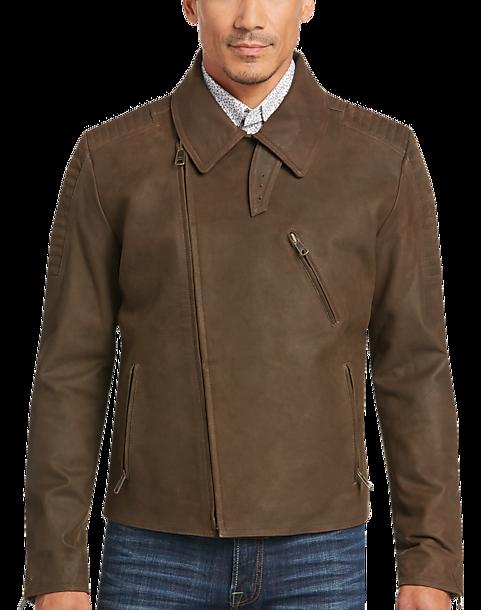 Joseph Abboud Brown Leather Moto Jacket - Men's Casual Jackets ...