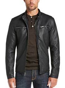 Pronto Uomo Black Modern Fit Moto Jacket (various colors)