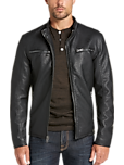Pronto Uomo Black Modern Fit Moto Jacket