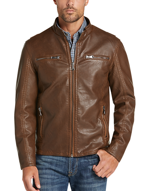 Mens Wearhouse Men's Pronto Uomo Modern Fit Moto Jacket (Camel)