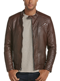 Pronto Uomo Men's Modern Fit Faux Leather Moto Jacket (Cognac)