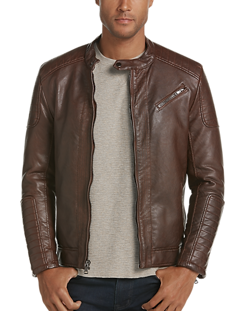 Pronto Uomo Cognac Modern Fit Faux Leather Moto Jacket