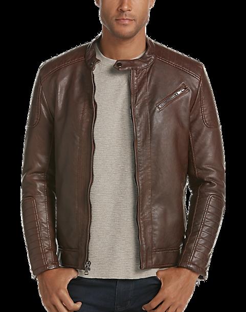 60a691af49825 Pronto Uomo Cognac Modern Fit Faux Leather Moto Jacket - Mens Home - Men's  Wearhouse