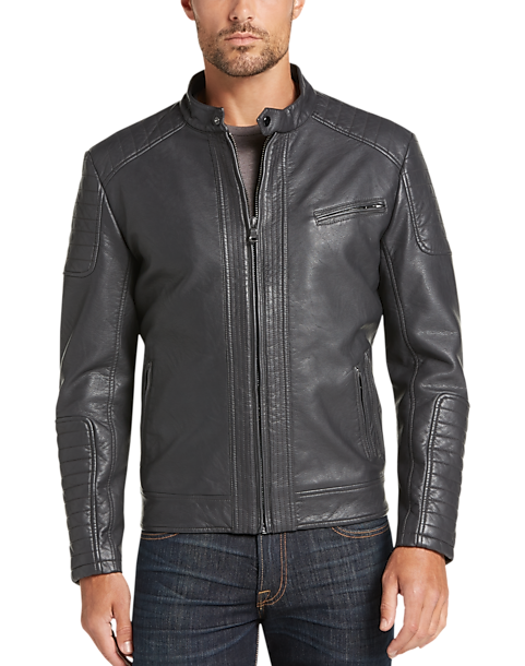 ccc2bfe95cec Pronto Uomo Charcoal Modern Fit Faux Leather Moto Jacket - Mens Home - Men s  Wearhouse