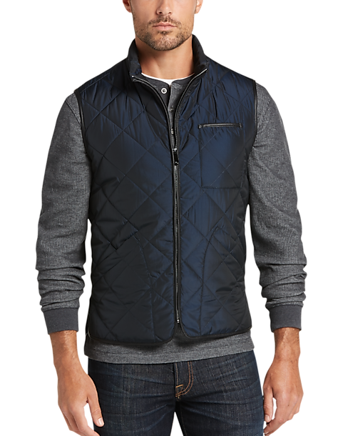 Pronto Uomo Navy Modern Fit Diamond Quilted Vest