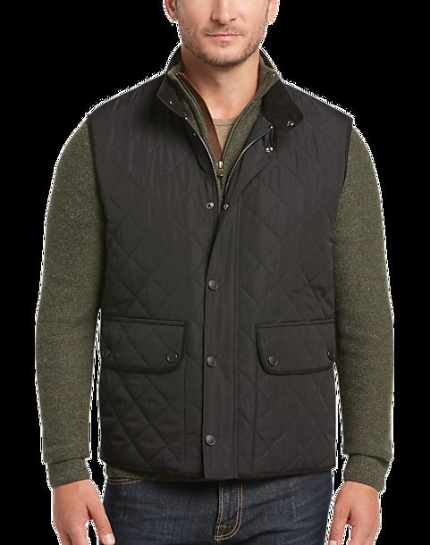 Pronto Uomo Black Modern Fit Diamond Quilted Vest - Men's Vests ... : quilted mens vest - Adamdwight.com