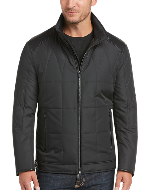 Pronto Uomo Florence Black Modern Fit Quilted Jacket - Men's ... : black quilted jacket mens - Adamdwight.com